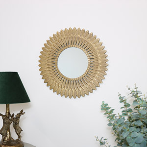 Large Gold Feathered Wall Mirror