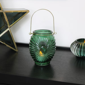Green Glass Deco Candle Lantern