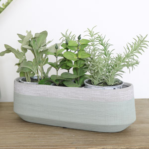 Long Grey & Green Planter Pot