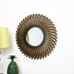 Antique Gold Feather Wall Mirror 61cm x 61cm
