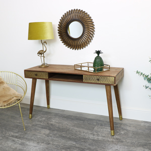 Mango Wooden Desk with Brass Detailing