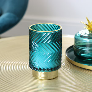 Blue & Gold Glass Orchid Candle
