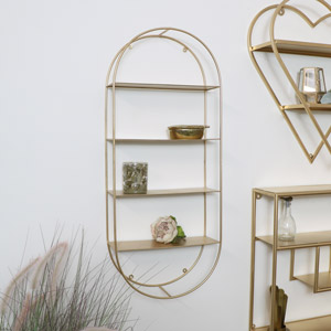 Gold Metal Oval Wall Shelving Unit