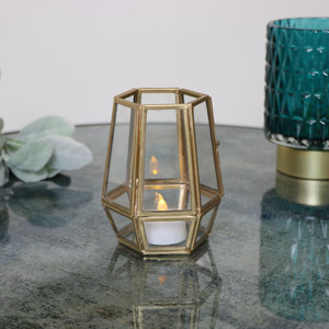 Gold Hexagon Candle Holder