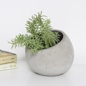 Round Inclined Grey Stone Plant Pot