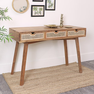 Wood & Cane 3 Drawer Desk/Console Table