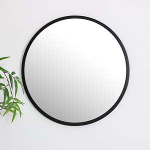 Round Black Wall Mirror 50cm x 50cm