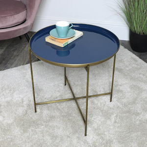 Blue & Gold Side Table