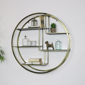 Large Round Antique Gold Mirrored Multi Shelf Unit