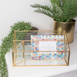 Gold Metal & Glass Organiser