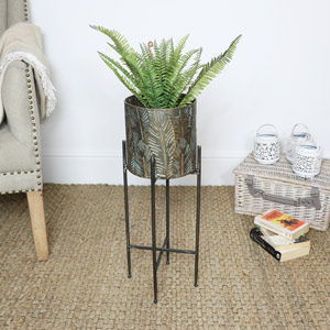Distressed Brass Leaf Planter