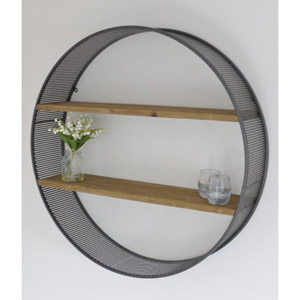 Black Retro Circle Wall Shelf
