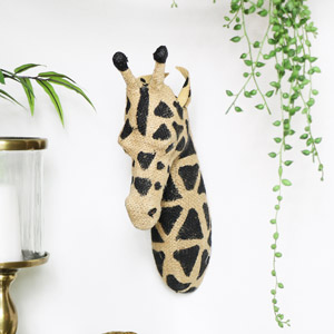 Hessian Wall Mounted Giraffe Head