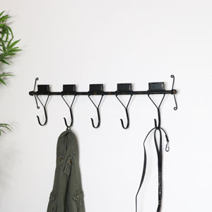 Rustic Metal Wall Mounted Coat Hooks