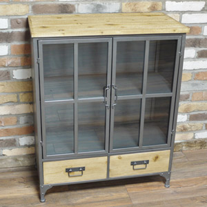 Metal Industrial Style Glazed Cabinet
