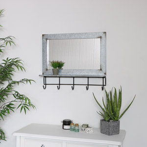 Rustic Grey Metal Wall Mirror with Hooks & Shelf 600cm x 52cm