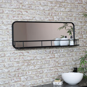 Large Black Industrial Mirror with Shelf