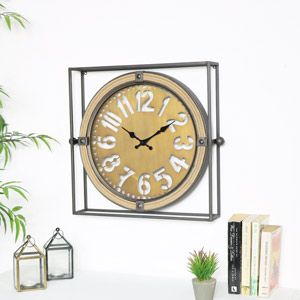 Industrial Square Metal Clock