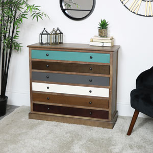 Rustic 6 Drawer Chest of Drawers - Loft Living Range