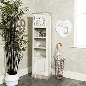 Cream Grandfather Clock with Shelving - Lyon Range