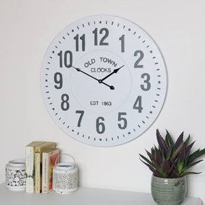 White Metal Vintage Wall Clock