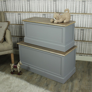 Set of 2 Grey Wooden Blanket Storage Boxes - Admiral Range
