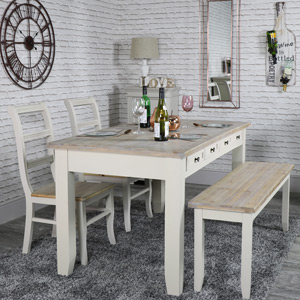 Large Taupe 8 Drawer Dining Table with Bench and 2 Chairs - Cotswold Range