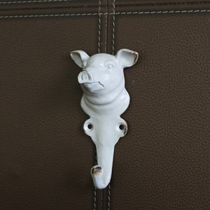 Grey Metal Pig Head Wall Hook