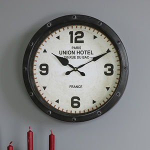 Large Brown Metal Wall Clock