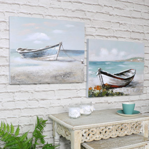 Set of 2 Vintage Boat Canvas Wall Prints