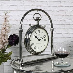 Large Silver Nickel Pocket Watch Style Carriage Clock