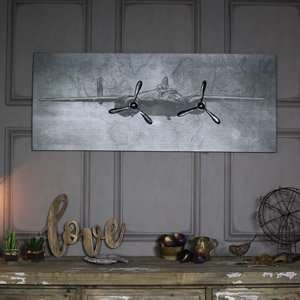 Large Vintage Retro Plane Wall Canvas