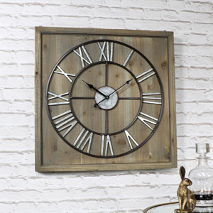 Large Skeleton Clock on Square Wood Frame
