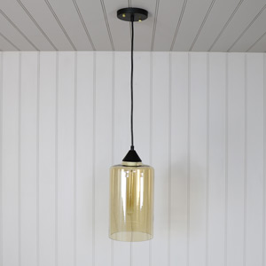 Amber Glass Pendant Ceiling Light Fitting