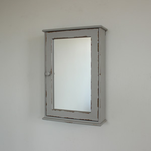 French Grey Mirrored Wall Cabinet