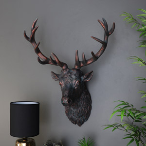 Large Black Wall Mounted Stag Head