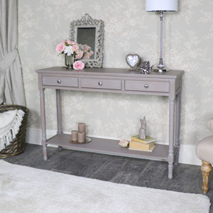 Large Taupe 3 Drawer Console Table - Cambridge Range