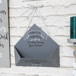 Grey Wooden Envelope Letter holder