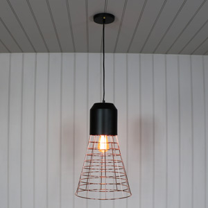 Rose Gold Wire Industrial Style Pendant Light