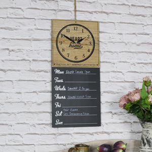 Wall Mounted Clock with Days of the Week Memo Board