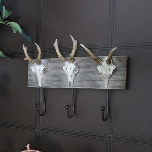 Wall Mounted Animal Skull Triple Wall Hooks