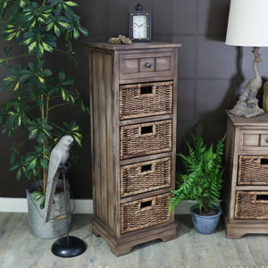 Dorchester Range - Wooden 1 Drawer 4 Basket Storage Unit