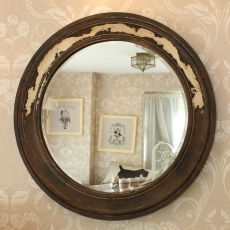 Antique Wood Round Wall Mirror