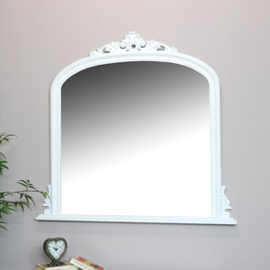 Large White Overmantel Wall Mirror 94cm x 104cm