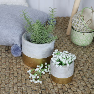 Pair of Gold Dip Cement Plant Pots
