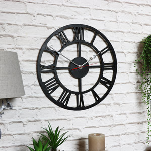 Black Metal Skeleton Wall Clock with Roman Numerals
