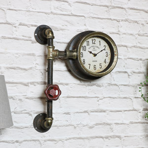 Rustic Industrial Pipework Wall Clock