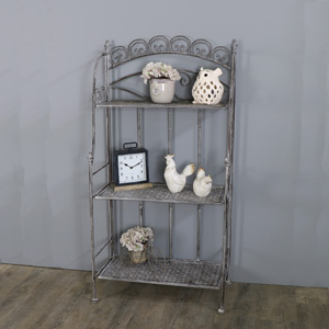 Tall Grey Ornate Metal 3 Tier Shelving Unit