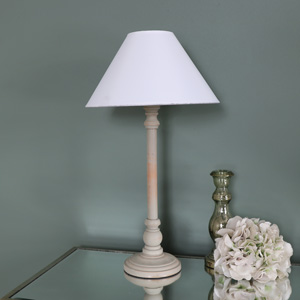 Taupe Wooden Table Lamp with White Linen Shade