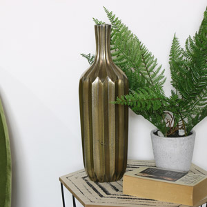 Metal Gold Ridged Bottle Vase